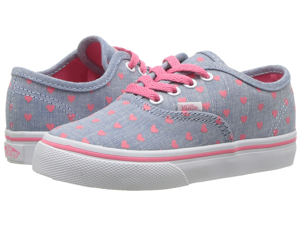 Vans Kids - Authentic (Toddler) (Chambray Hearts Blue/True White) Girls Shoes