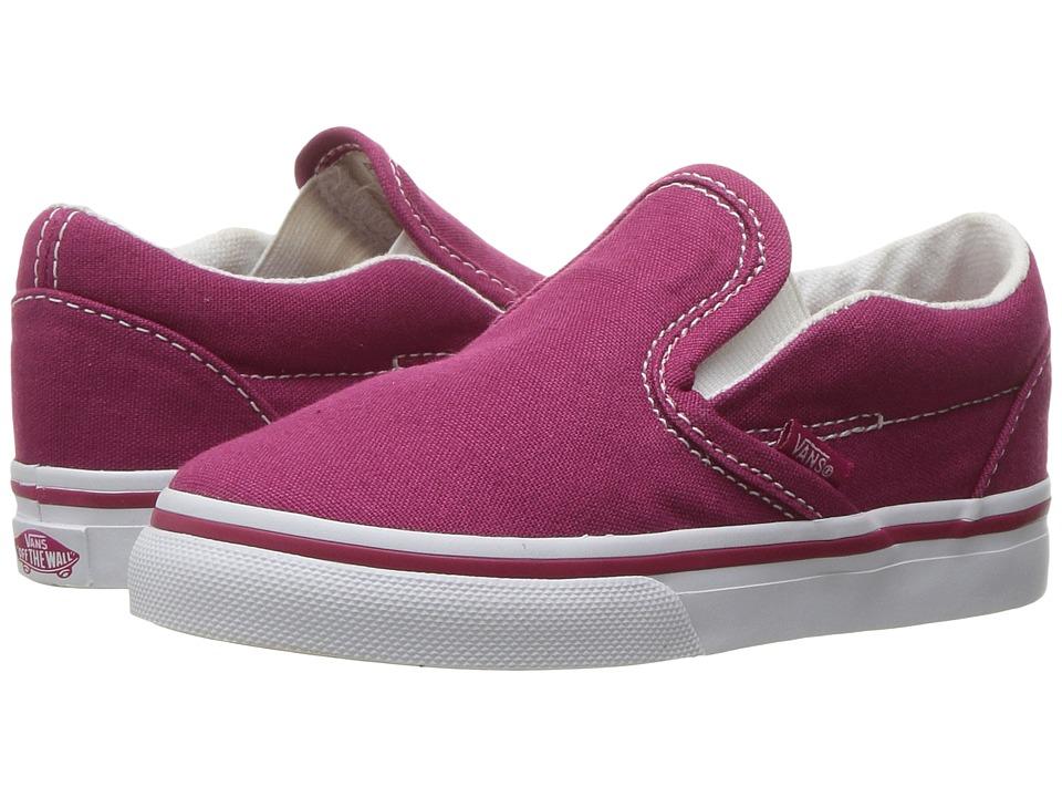 Vans Kids - Classic Slip-On (Toddler) ((Canvas) Sangria/True White) Girls Shoes