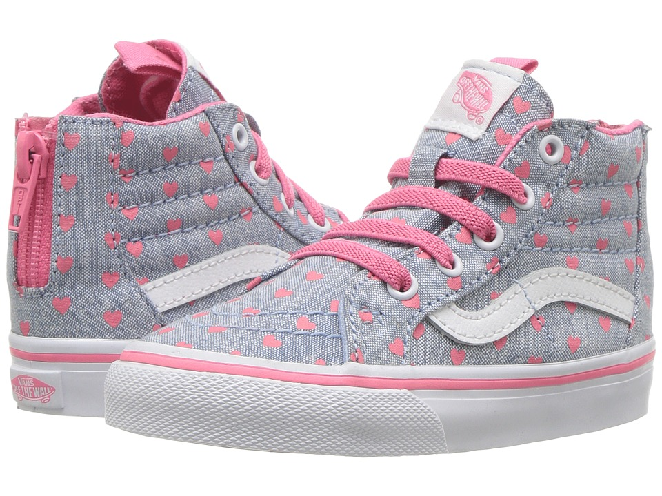 Vans Kids - Sk8-Hi Zip (Toddler) (Chambray Hearts Blue/True White) Girls Shoes