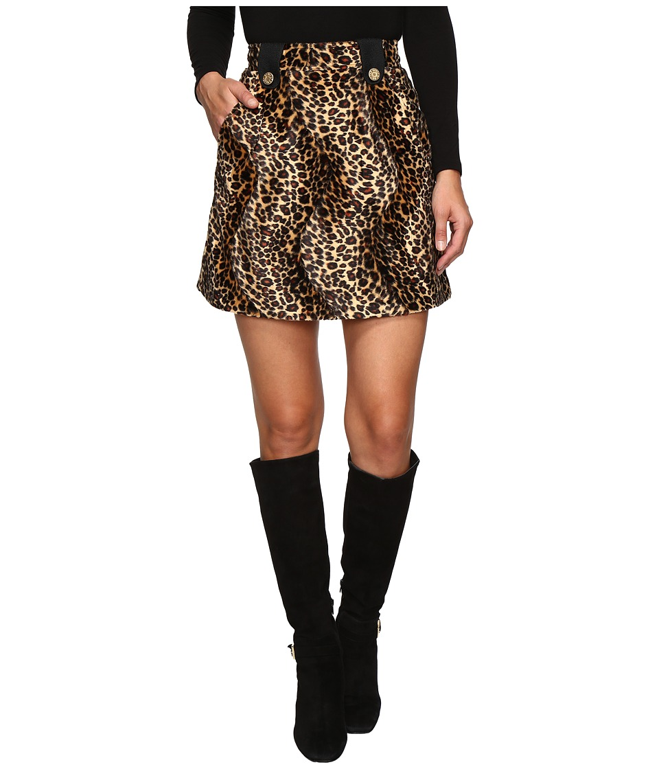 HOUSE OF HOLLAND - Velvet Leopard Mini Skirt (Leopard) Women's Skirt