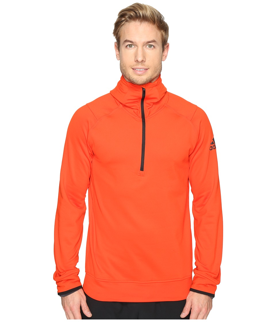 adidas - Climaheat 1/2 Zip Hoodie (Bold Orange) Men's Sweatshirt