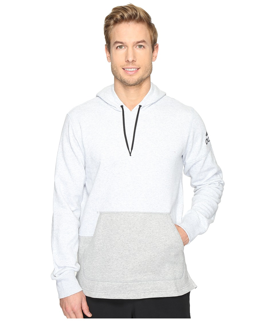 adidas - Postgame Pullover Hoodie (Light Grey Heather/Medium Grey Heather/Black) Men's Sweatshirt