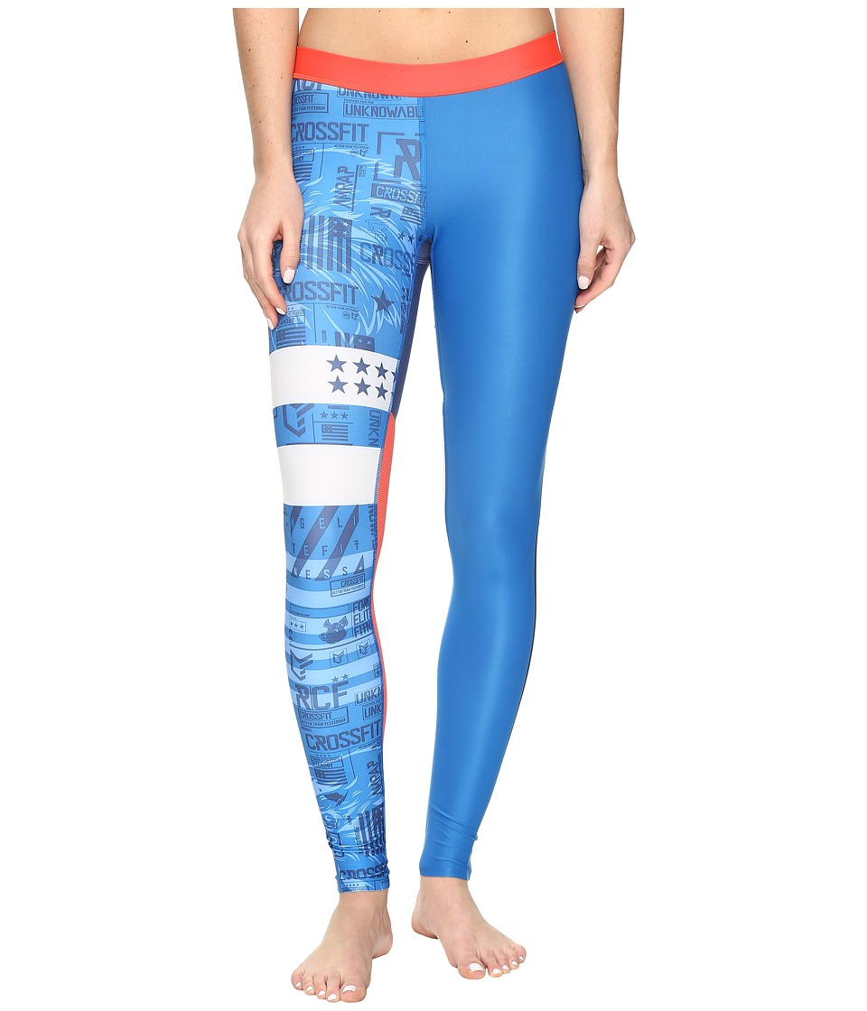 Reebok - Crossfit Compression Tights Stripes (Blue) Women's Casual Pants