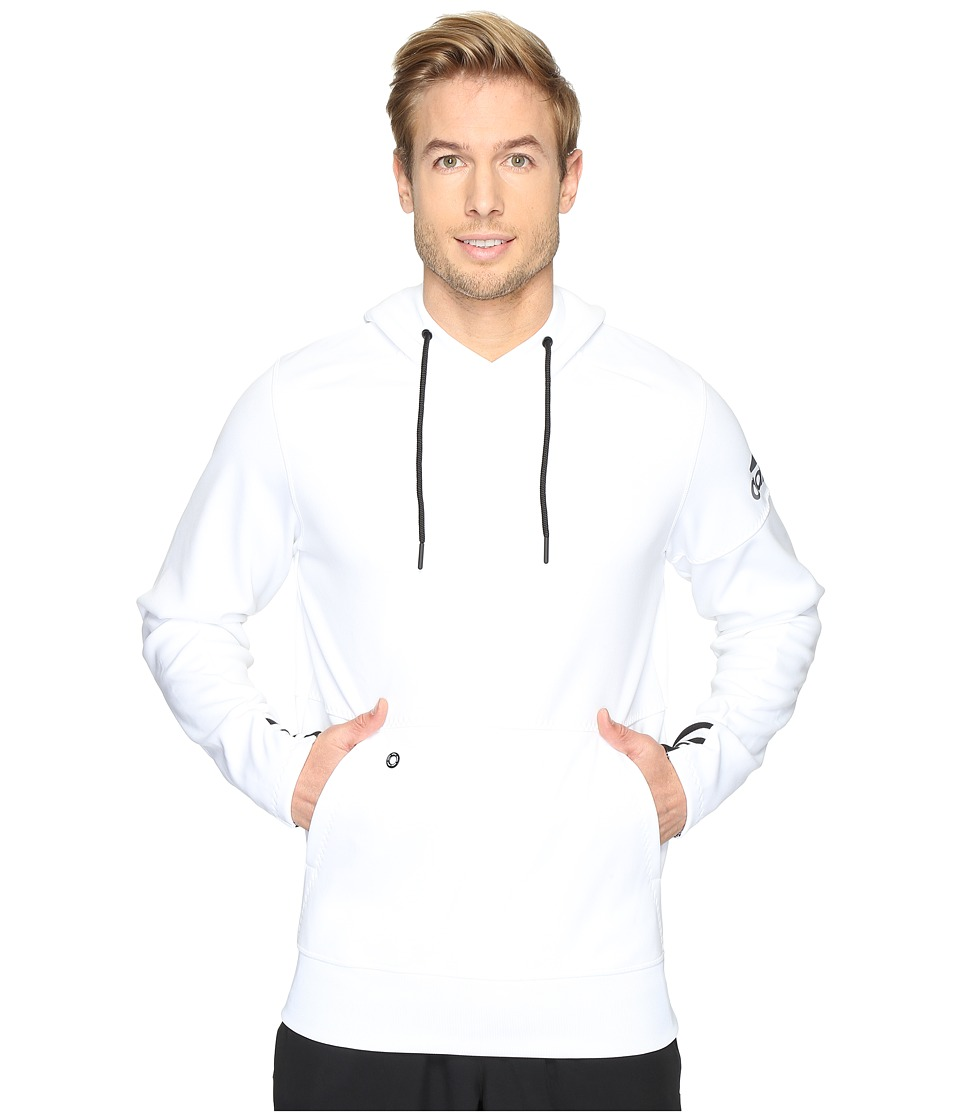 adidas - Sport ID Fleece Pullover (White/Black) Men's Clothing