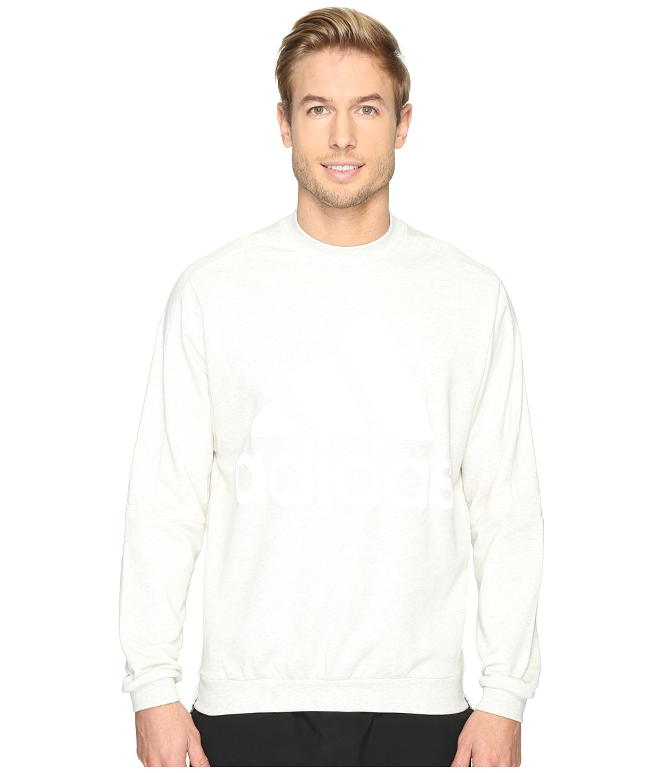 adidas - Heavy Terry Crew (White Melange) Men's Clothing