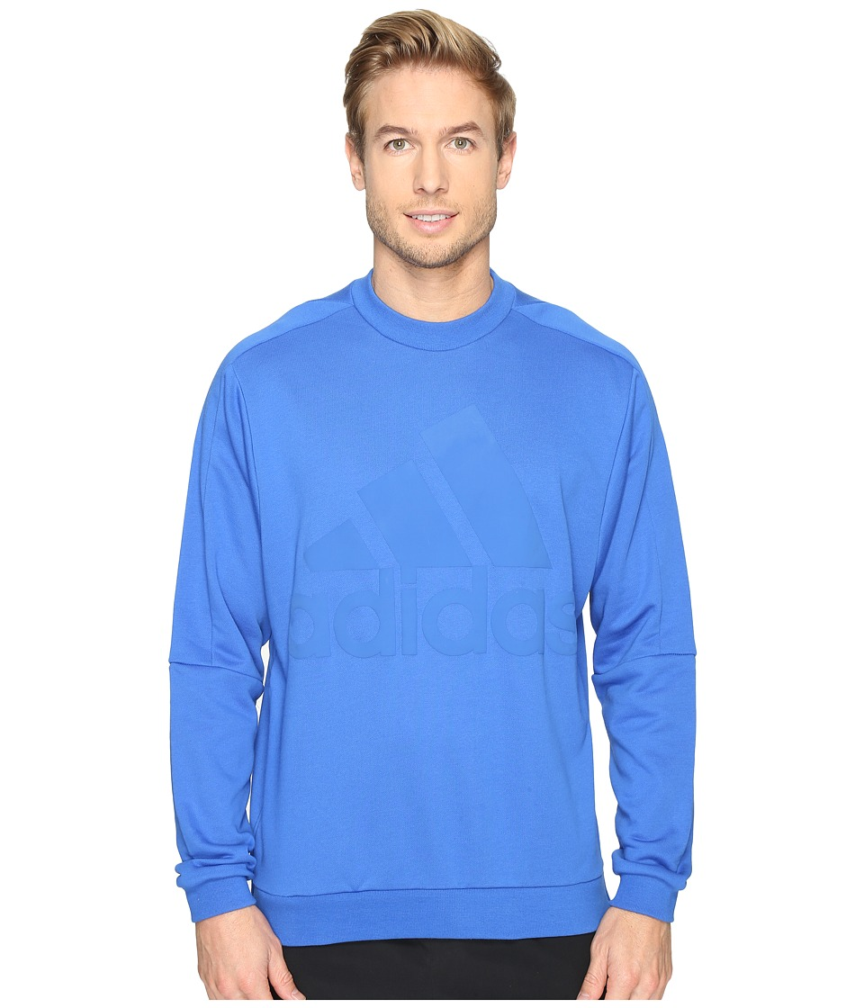 adidas - Heavy Terry Crew (Blue) Men's Clothing