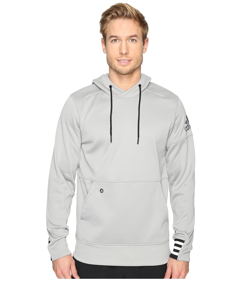 adidas - Sport ID Fleece Pullover (Medium Grey Heather/Black) Men's Clothing