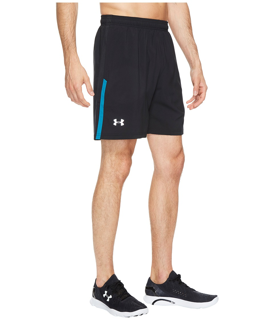 Under Armour - UA Launch Stretch Woven 7 Shorts (Black/Bayou Blue/Reflective) Men's Shorts