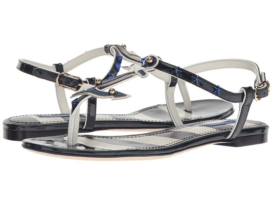 Dolce & Gabbana Thong Sandal with Anchor/Star (White/Navy) Women