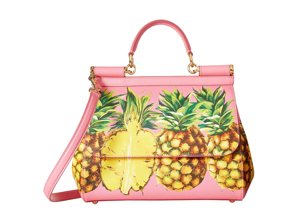 Dolce & Gabbana - Pineapple Medium Miss Sicily Bag (Pink) Top-handle Handbags