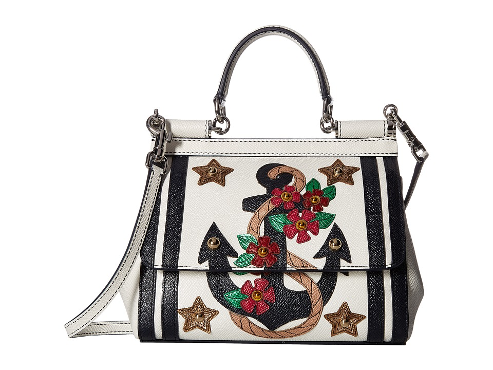 Dolce & Gabbana - Small Miss Sicily Bag with Embroidered Anchor and Studs (White/Blue) Cross Body Handbags