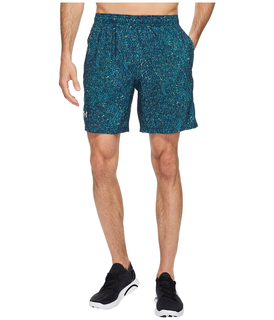 Under Armour - UA Launch Stretch Woven Print Shorts (Bayou Blue/Quirky Lime/Reflective) Men's Shorts