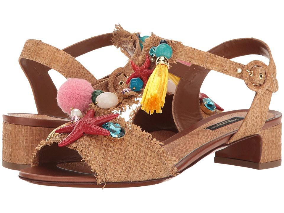 Dolce & Gabbana Raffia T-Strap Sandal with Shells 30mm (Natural) Women