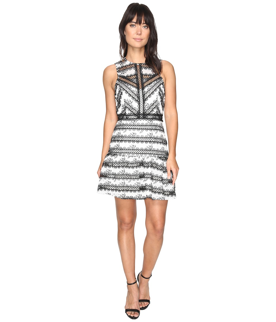 Adelyn Rae Nola Woven Fit and Flare Dress (Black/White) Women