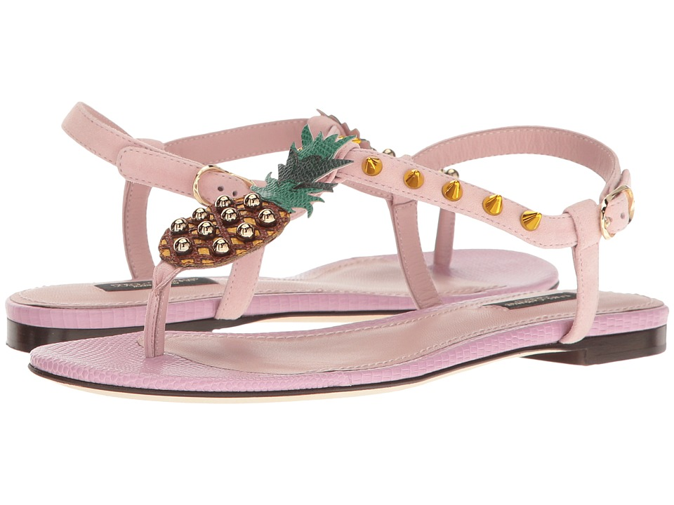 Dolce & Gabbana - Suede Thong Sandal with Pineapple Detail (Light Pink) Women's Sandals