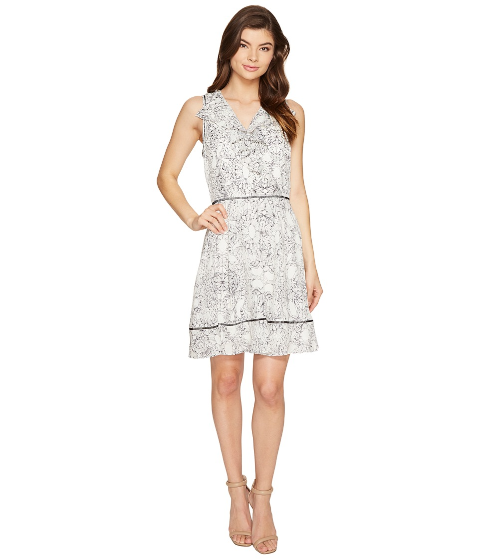 Adelyn Rae - Lana Fit and Flare Dress (White/Black) Women's Dress