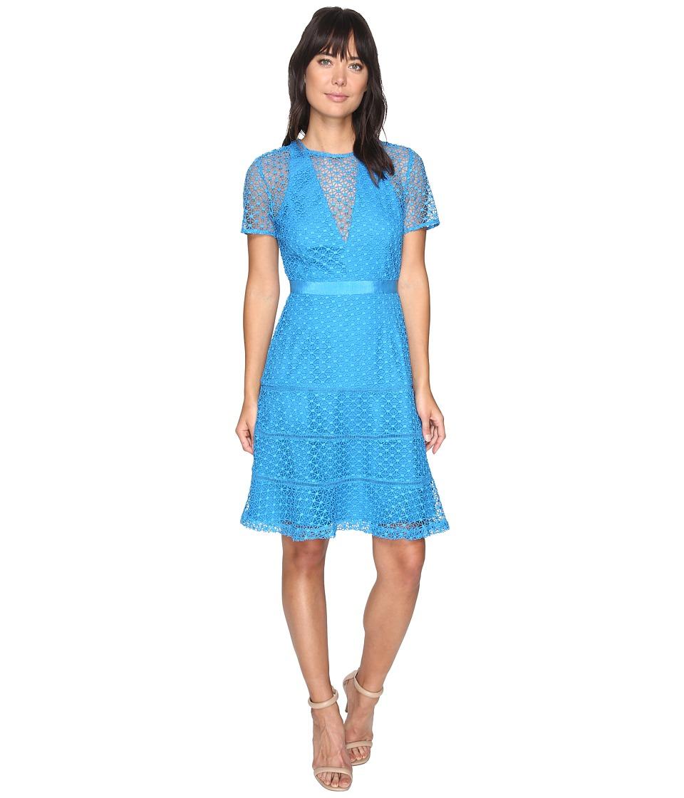 Adelyn Rae Carol Woven Lace Trumpet Dress (Blue) Women