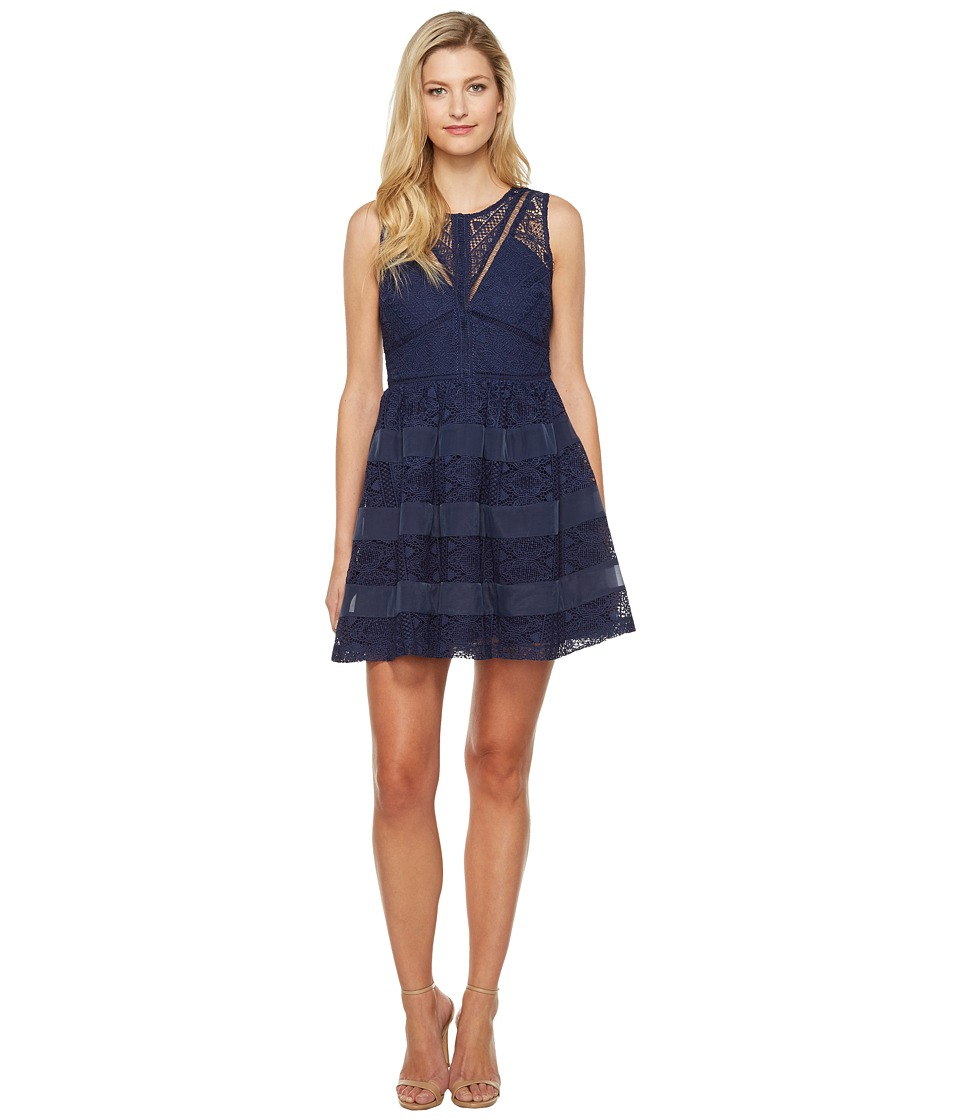 Adelyn Rae Marissa Woven Lace Fit and Flare (Navy) Women