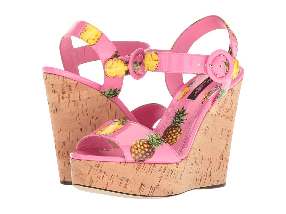 Dolce & Gabbana - Patent Pineapple Print Cork Wedge 90mm (Pink) Women's Wedge Shoes