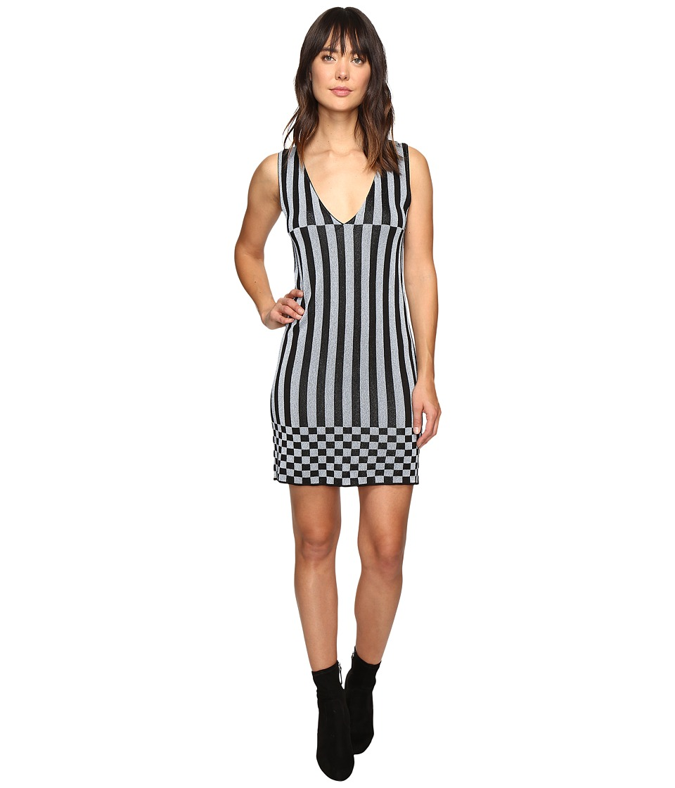 HOUSE OF HOLLAND - Knitted Lurex Stripe Dress (Black/Blue) Women's Dress