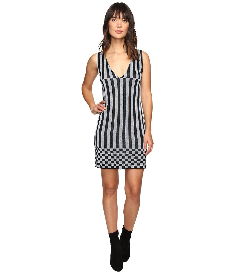 HOUSE OF HOLLAND - Knitted Lurex Stripe Dress (Black/Blue) Women's Dress