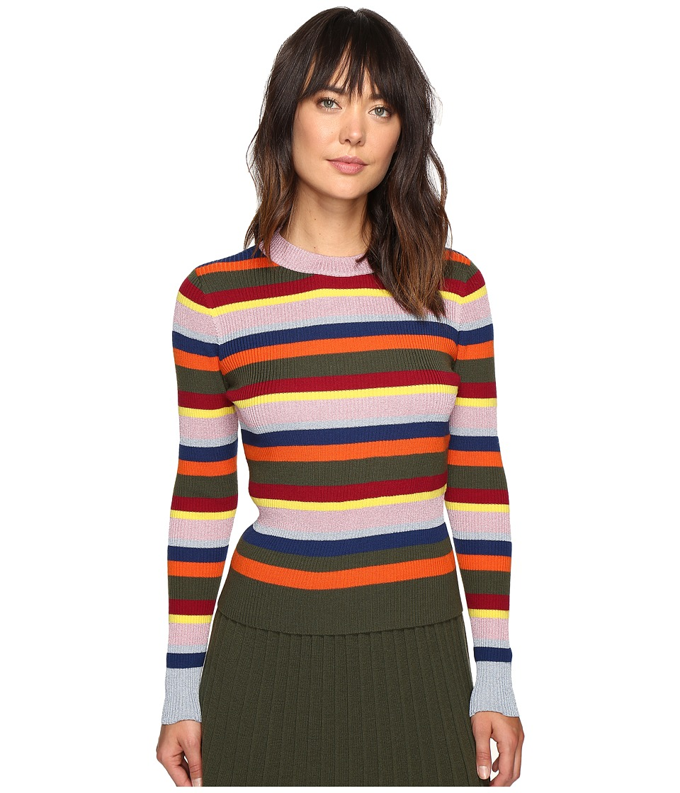 HOUSE OF HOLLAND - Stripe Merino and Lurex Jumper (Multi) Women's Sweater
