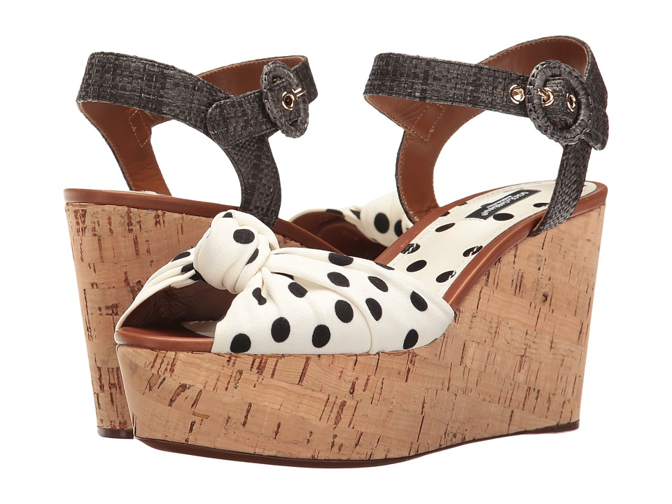 Dolce & Gabbana - Polka Dot Cady Knot Cork Wedge with Raffia Strap 50mm (White/Black) Women's Wedge Shoes