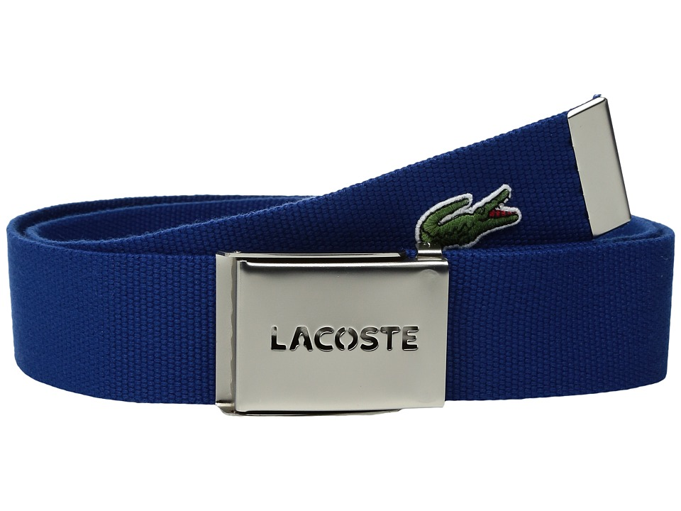 Lacoste - 40mm Woven Strap Belt (Estate Blue) Men's Belts