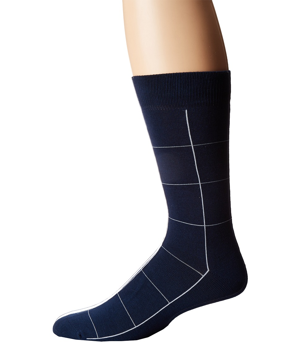 Lacoste - Window Pane Sock (Ship/White) Men's Low Cut Socks Shoes