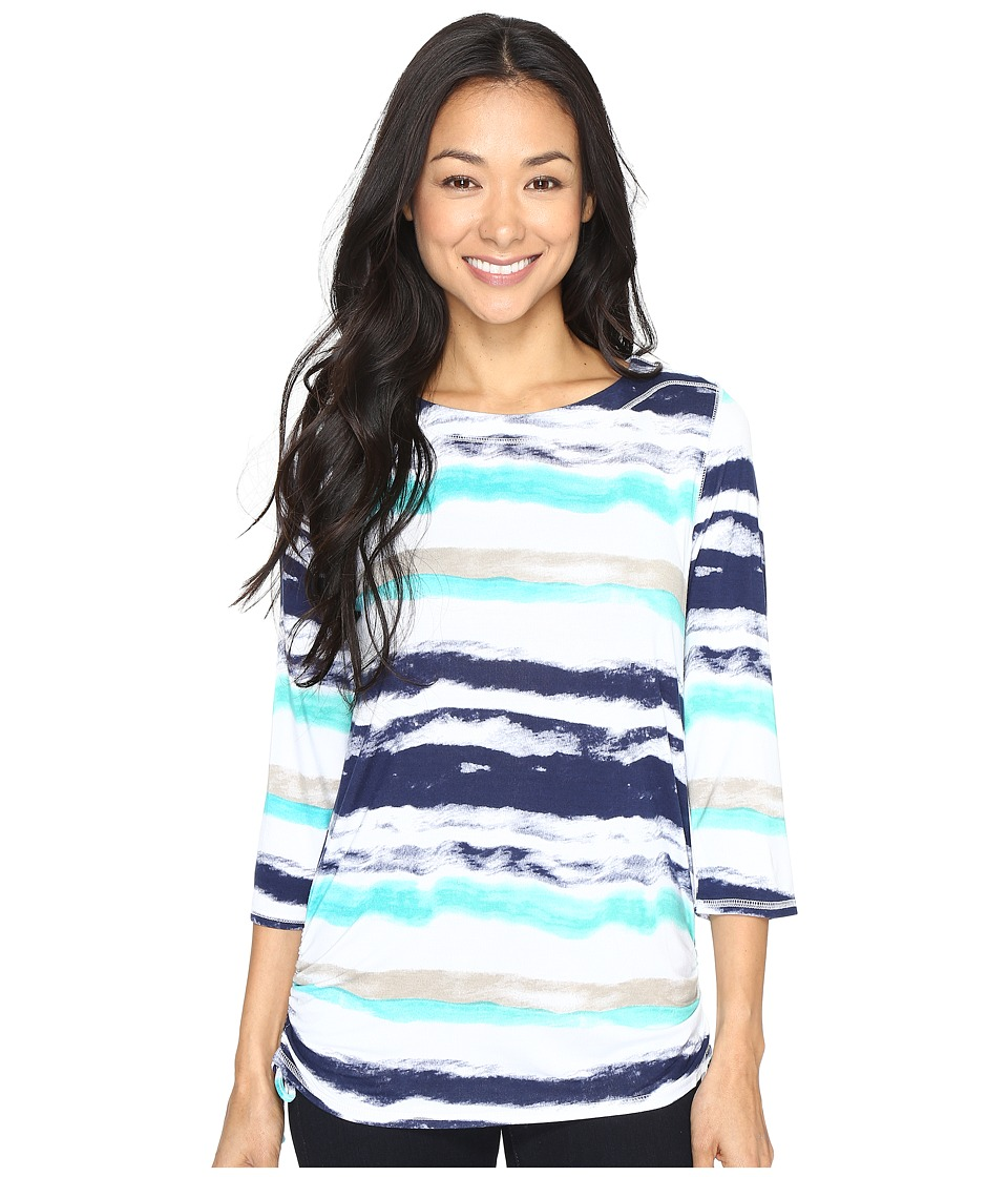 FDJ French Dressing Jeans - Water Color Stripe Top (Navy Multi) Women's Long Sleeve Pullover