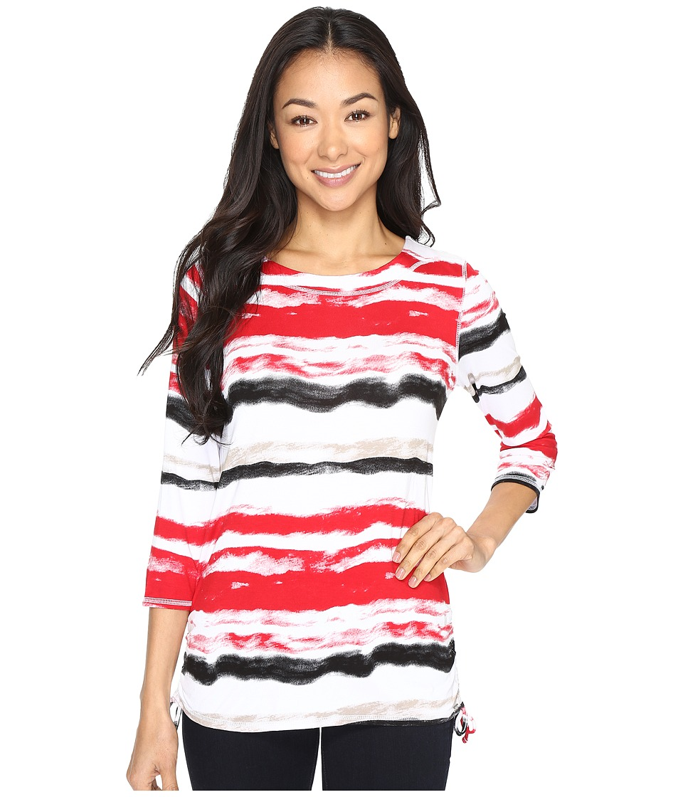 FDJ French Dressing Jeans - Water Color Stripe Top (Red Multi) Women's Long Sleeve Pullover