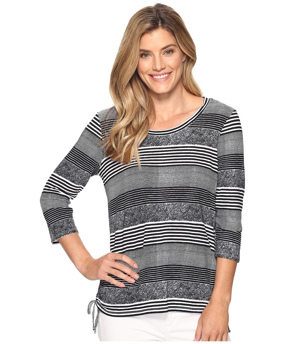 FDJ French Dressing Jeans - Hazy Stripe Scoop Neck Top (White/Navy) Women's Clothing