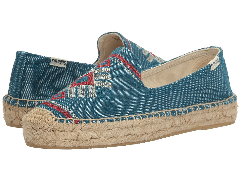 Soludos - Yucatan Embroidered Platform Smoking Slipper (Ocean Blue) Women's Sandals