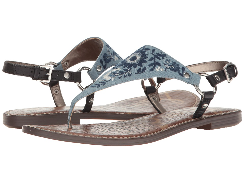 Sam Edelman - Greta 2 (Light Blue Light Denim/Maya Floral Emboidery) Women's Sandals