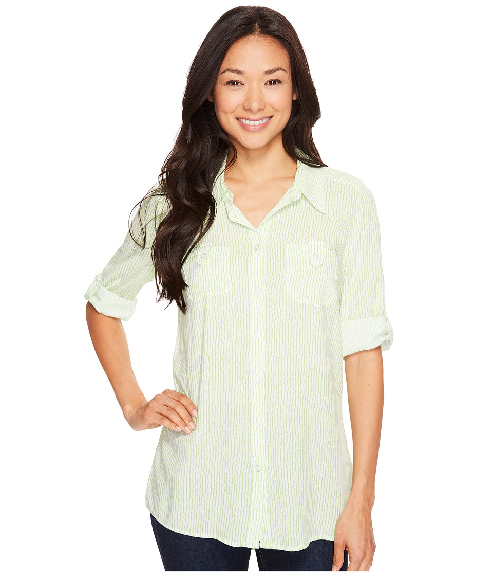 FDJ French Dressing Jeans - Paintly Stripe Tunic Blouse (White/Lime) Women's Blouse