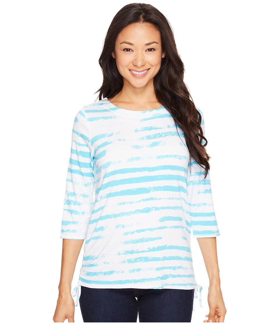 FDJ French Dressing Jeans - Cloud Stripe Top (Turquoise) Women's Long Sleeve Pullover