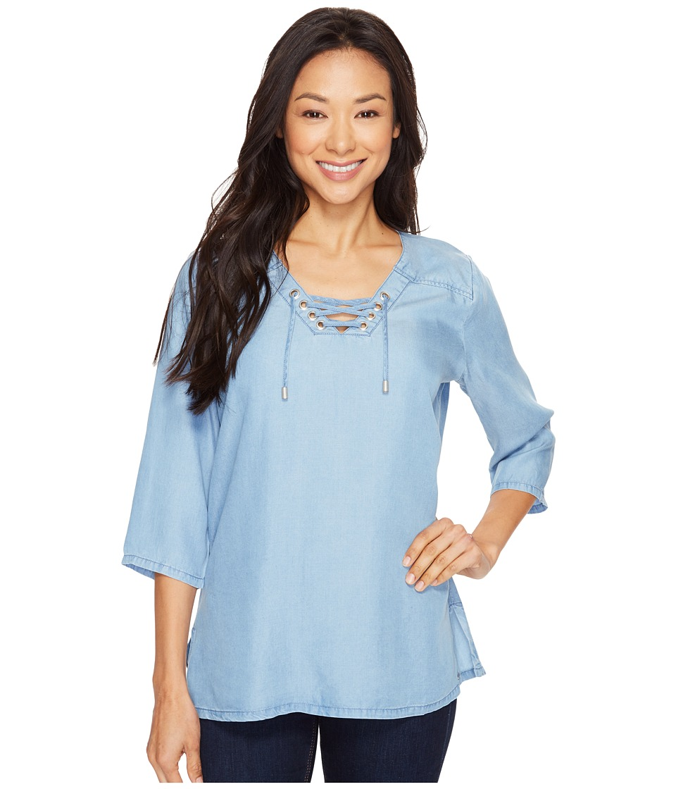 FDJ French Dressing Jeans - Chambray Popover Lace-Up Blouse (Chambray) Women's Blouse