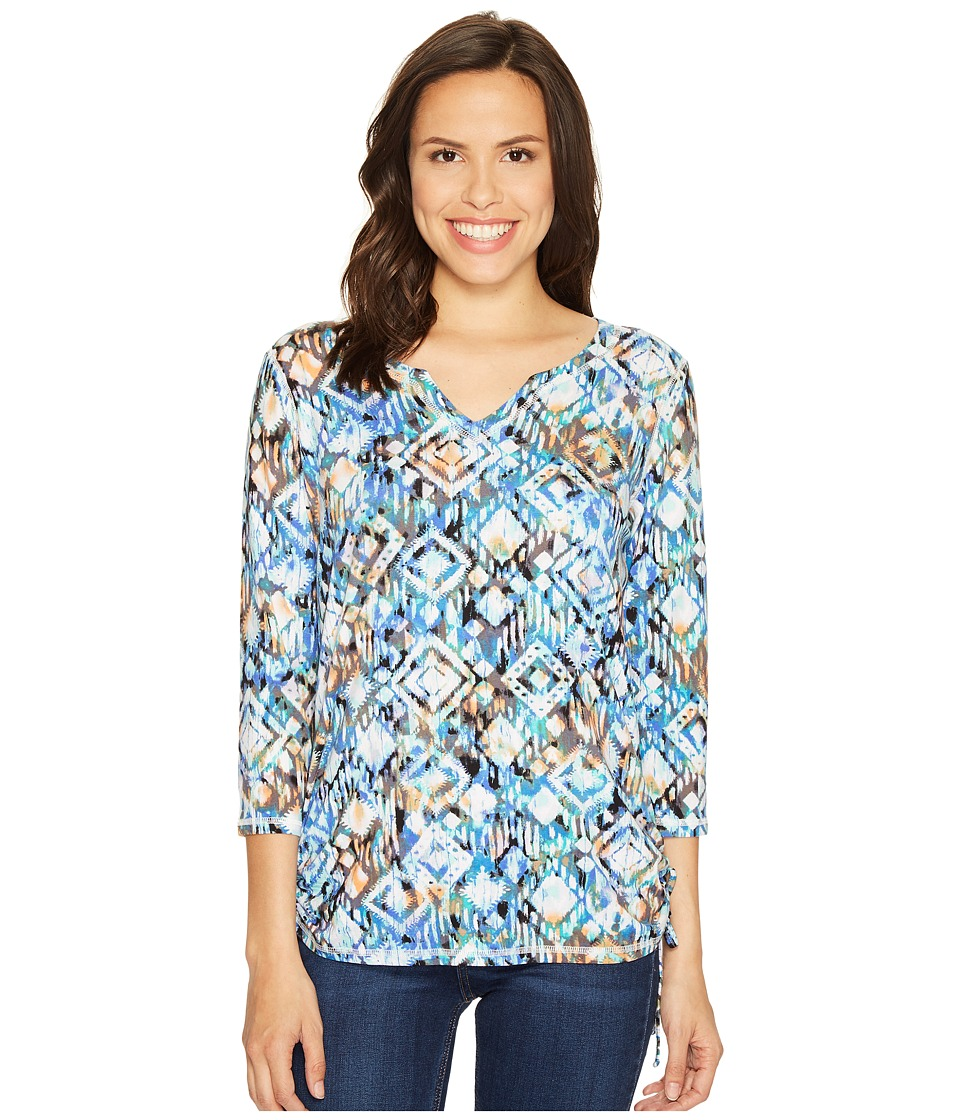 FDJ French Dressing Jeans - Ikat Print Notched Crew Top (Multi) Women's Long Sleeve Pullover