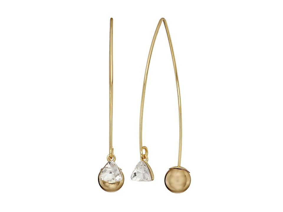 Rebecca Minkoff - Crystal Drop Hard Threader Earrings (Gold) Earring