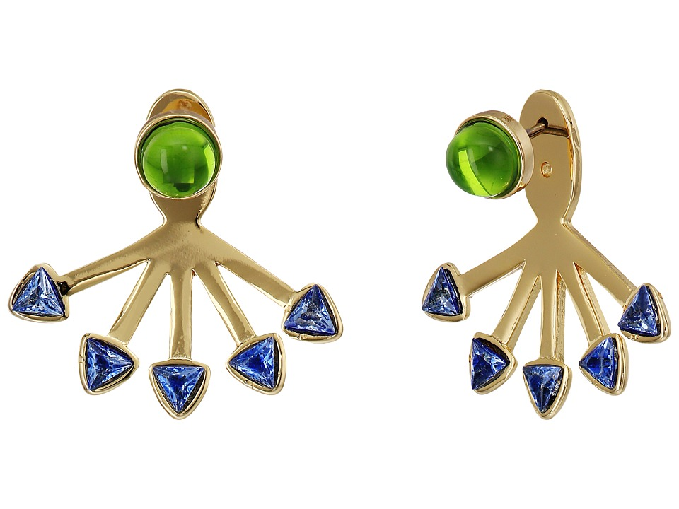 Rebecca Minkoff - Fan Ear Jacket Earrings (Gold/Blue/Mint) Earring