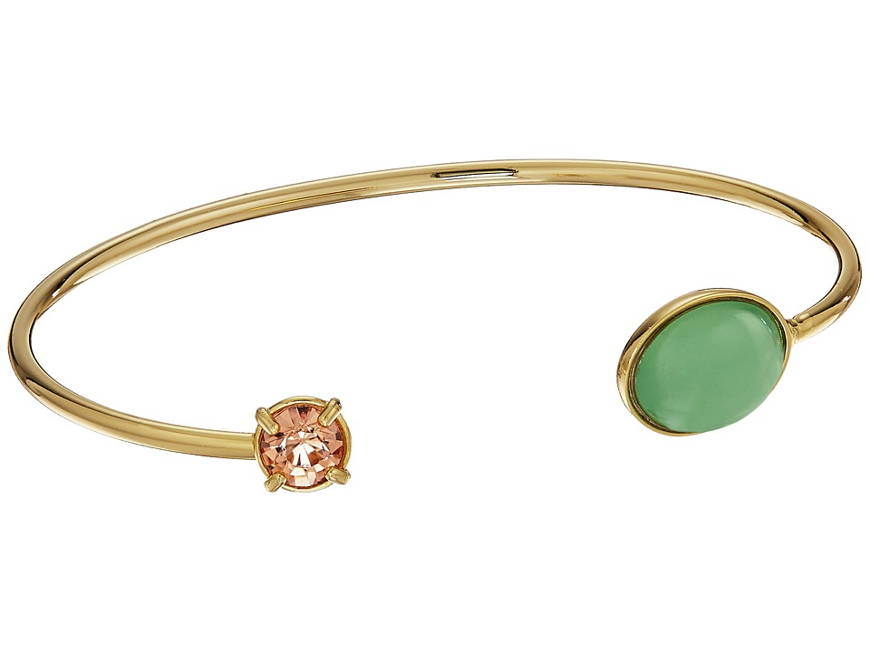 Rebecca Minkoff - Pearl and Crystal Baby Cuff Bracelet (Gold/Pink Glass/Mint Milky Stone) Bracelet
