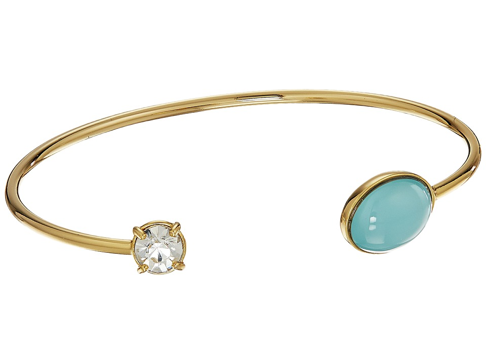 Rebecca Minkoff - Pearl and Crystal Baby Cuff Bracelet (Gold/Crystal Glass/Blue Milky Stone) Bracelet