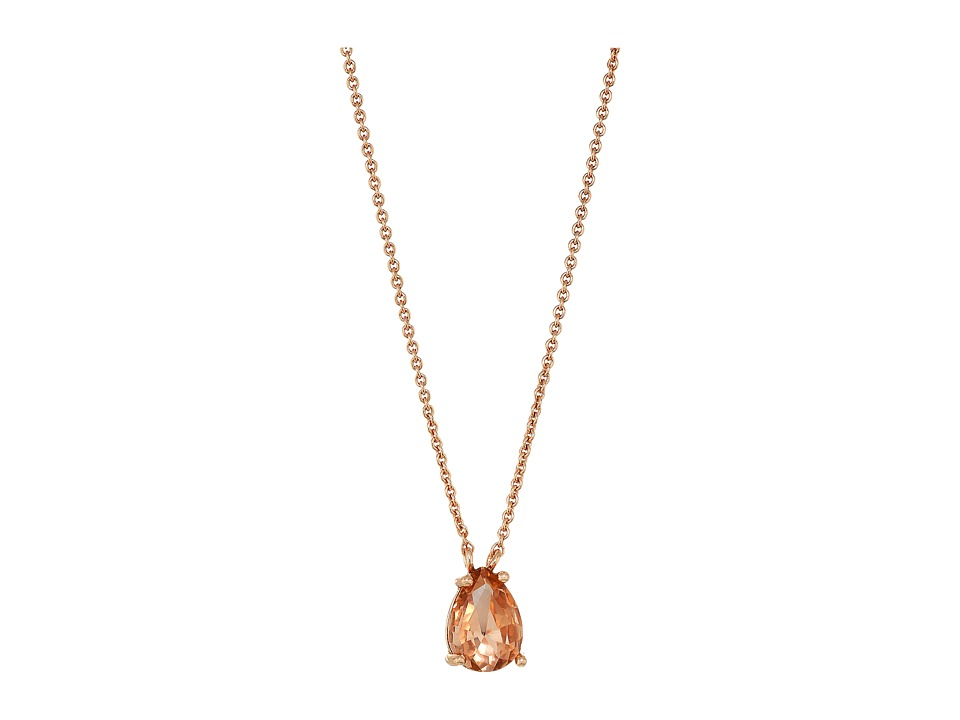 Rebecca Minkoff - Crystal Drop Delicate Necklace (Pink/Rose Gold) Necklace