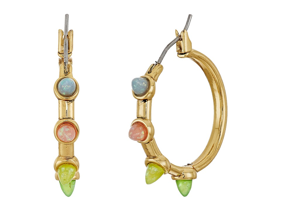 Rebecca Minkoff - Rainbow Spear Hoop Earrings (Antique Gold/Rainbow Opal) Earring