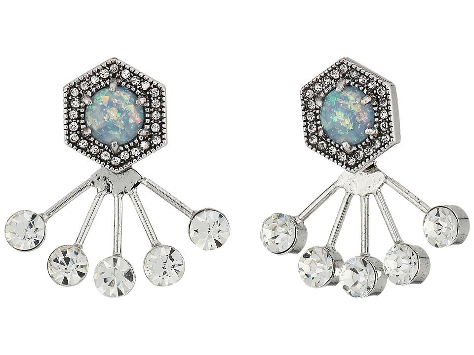 Rebecca Minkoff - Opal Fan Back Ear Jacket Earrings (Antique Silver/Blue Opal) Earring
