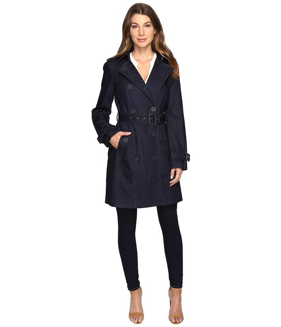 MICHAEL Michael Kors - Double Breasted Trench M722078R74 (Denim) Women's Coat