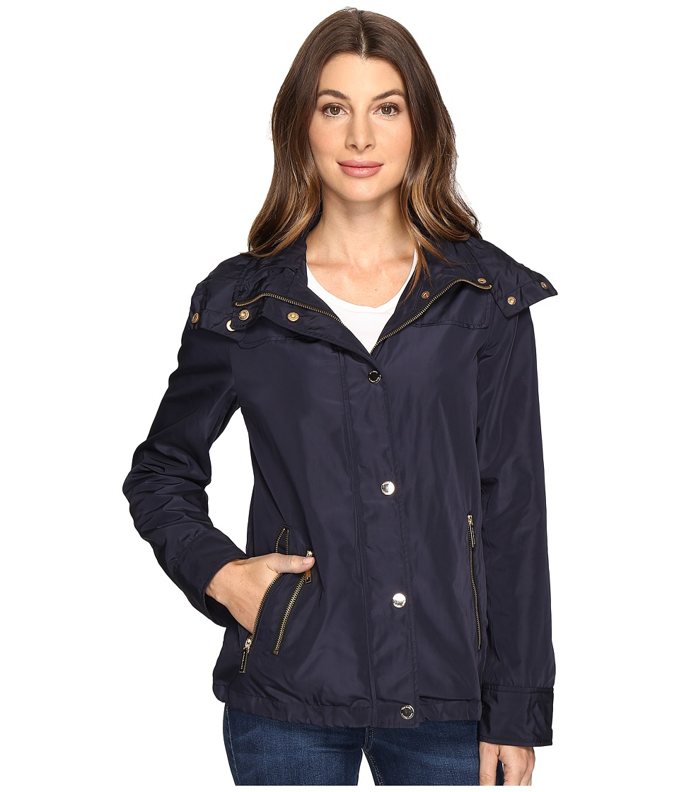 MICHAEL Michael Kors - Hooded Snap Front Jacket M322087R (Navy) Women's Jacket