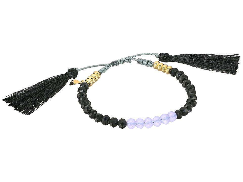 Rebecca Minkoff - Tropics Tassel Pulley Bracelet (Black Beads/Black Tassels/Lavender/Gold Contrast Beads) Bracelet