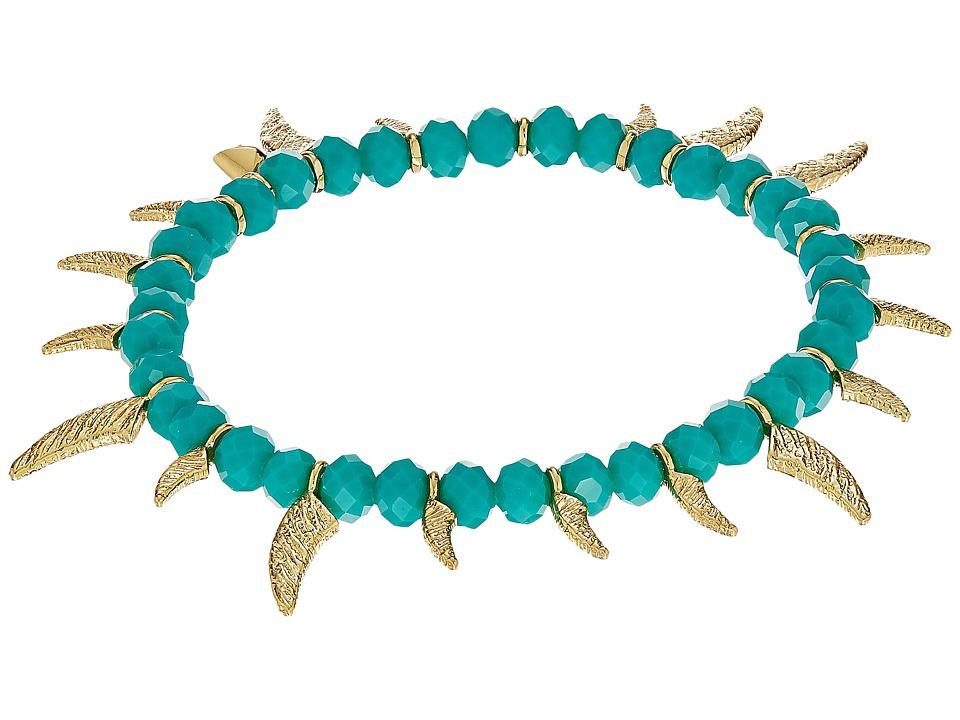 Rebecca Minkoff - Tiki Beaded Spike Bracelet (Turquoise Faceted Shiny Beads/Gold) Bracelet