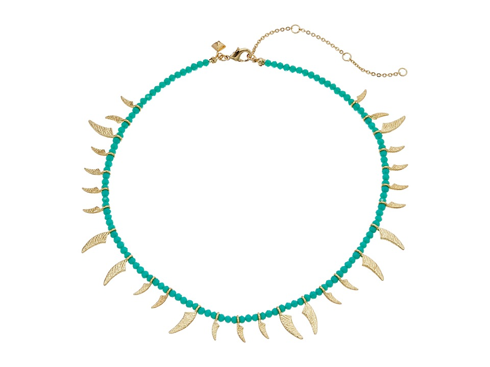 Rebecca Minkoff - Tiki Beaded Spike Necklace (Turquoise Faceted Shiny Beads/Gold) Necklace